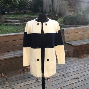 Comfy Anthropologie cream and blue sweater coat